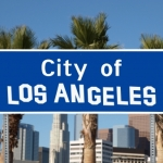 14445672 - los angeles city limit sign with hand made font.